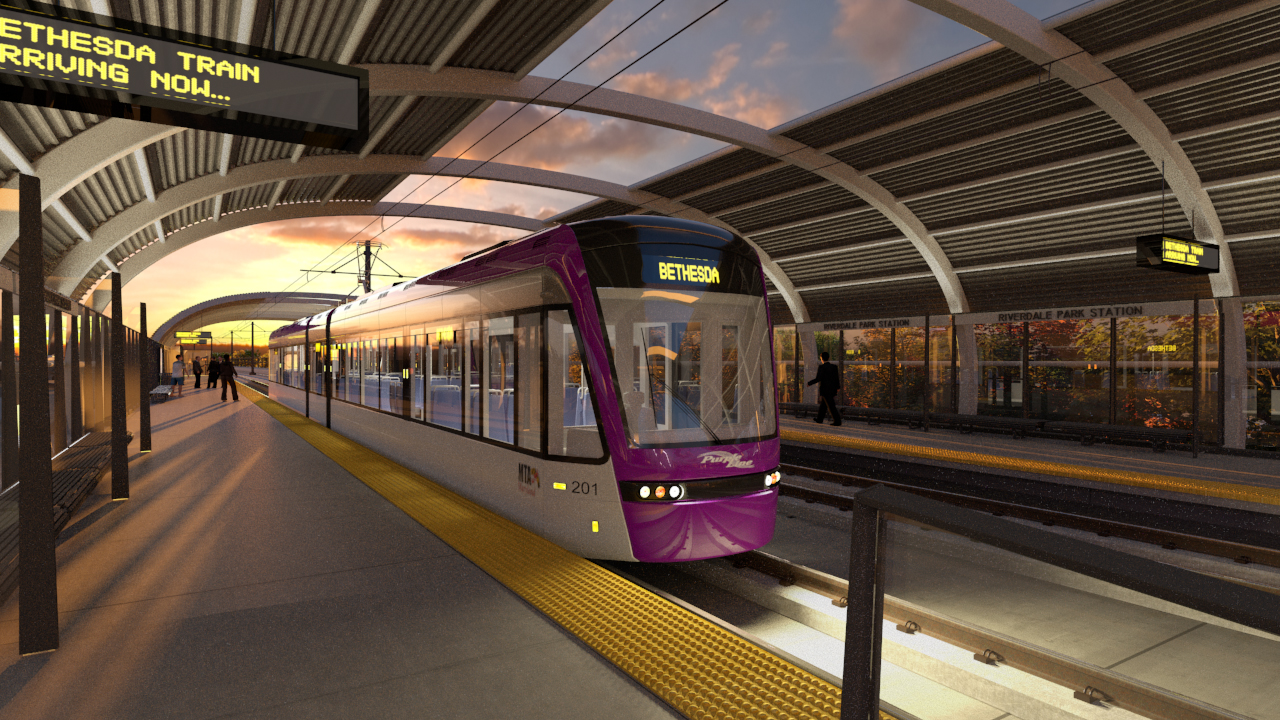 artist s rendering of planned riverdale park purple line station