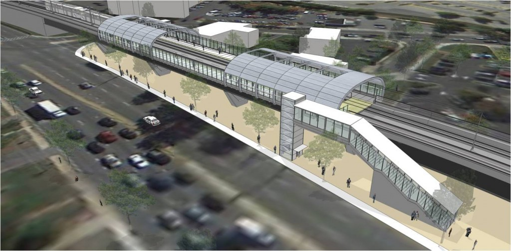 Artist's conception of the exterior of the Purple Line station at Riverdale Park. (Courtesy of the Maryland Transit Administration)